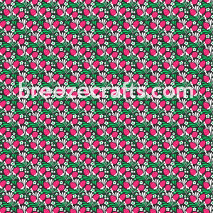strawberry floral flower pattern vinyl in htv heat transfer vinyl or adhesive vinyl sheets, red, green, black, white