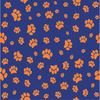 Navy with orange paw prints craft  vinyl sheet - HTV -  Adhesive Vinyl -   pattern HTV609