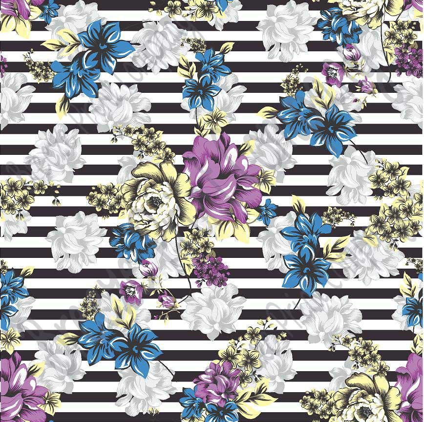 Blue, purple, yellow and gray striped floral craft  vinyl sheet - HTV -  Adhesive Vinyl -  flower pattern vinyl  HTV7800 - Breeze Crafts