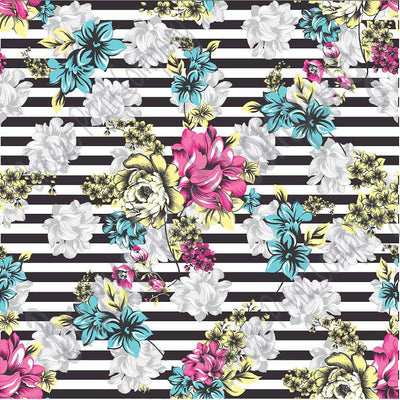 Aqua, pink, yellow, gray floral and black stripe craft  vinyl sheet - HTV -  Adhesive Vinyl -  flower pattern vinyl  HTV7803 - Breeze Crafts