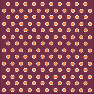 Maroon with orange and white polka dots craft  vinyl - HTV -  Adhesive Vinyl -  polka dot pattern HTV265