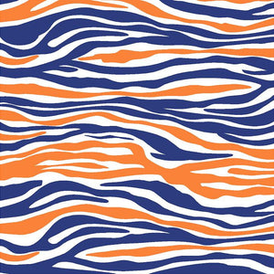 Navy, orange and white zebra print craft  vinyl sheet - HTV -  Adhesive Vinyl -  pattern vinyl HTV1234