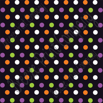 Black with purple, orange, green and white polka dot Halloween pattern craft  vinyl - HTV -  adhesive vinyl medium polka dots HTV1651 - Breeze Crafts