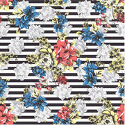 Blue, coral, yellow and gray with black stripes floral craft  vinyl sheet - HTV -  Adhesive Vinyl -  flower pattern vinyl  HTV7801 - Breeze Crafts