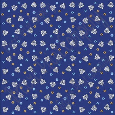 Star of David and menorah navy, light blue and gold pattern craft  vinyl sheet - HTV -  Adhesive Vinyl -  Hanukkah HTV4402