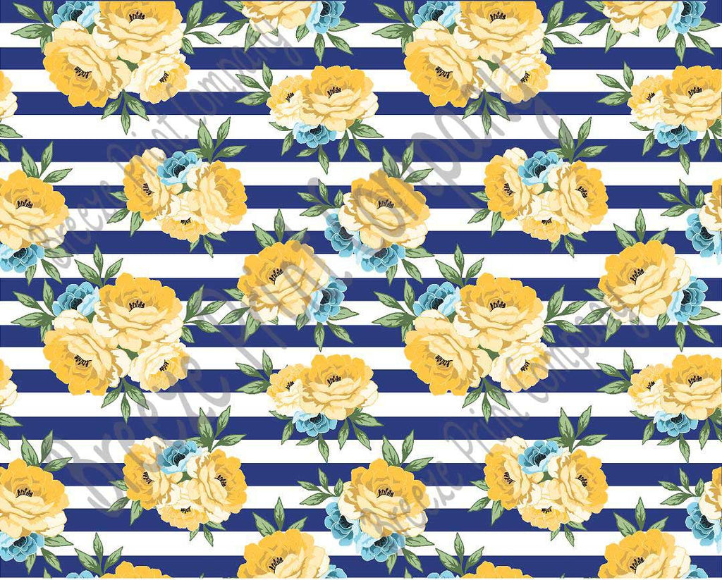 Yellow rose floral and navy stripe craft  vinyl sheet - HTV -  Adhesive Vinyl -  flower pattern vinyl 12x15 inch HTV7805