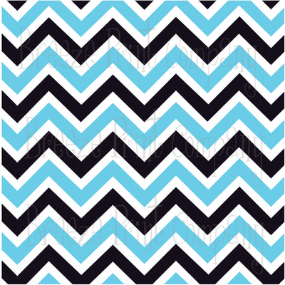 Aqua, black and white chevron craft  vinyl - HTV -  Adhesive Vinyl -  large zig zag pattern HTV197 - Breeze Crafts