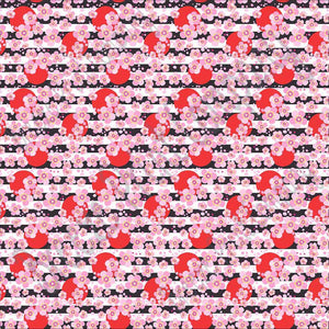Cherry blossom floral with red dots and black stripes craft  vinyl - HTV -  Adhesive Vinyl -  flower pattern vinyl  HTV2240 - Breeze Crafts