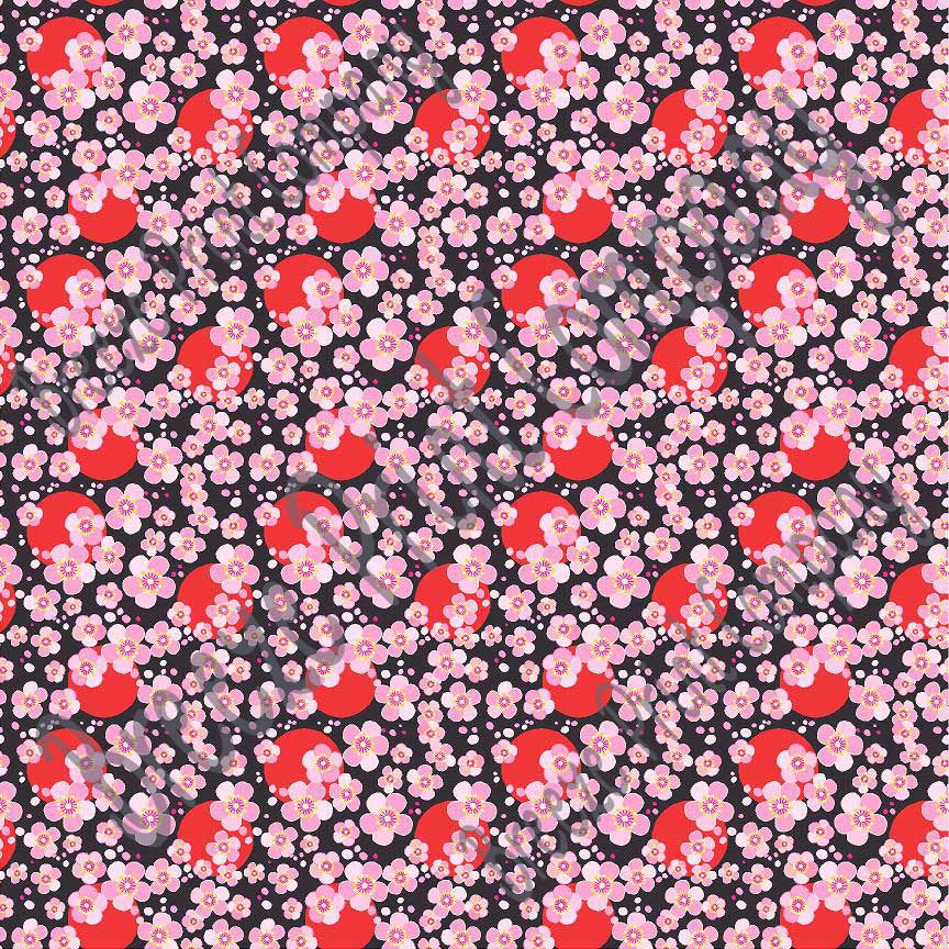 Pink cherry blossom floral with red dots and black background craft  vinyl - HTV -  Adhesive Vinyl -  flower pattern vinyl  HTV2245