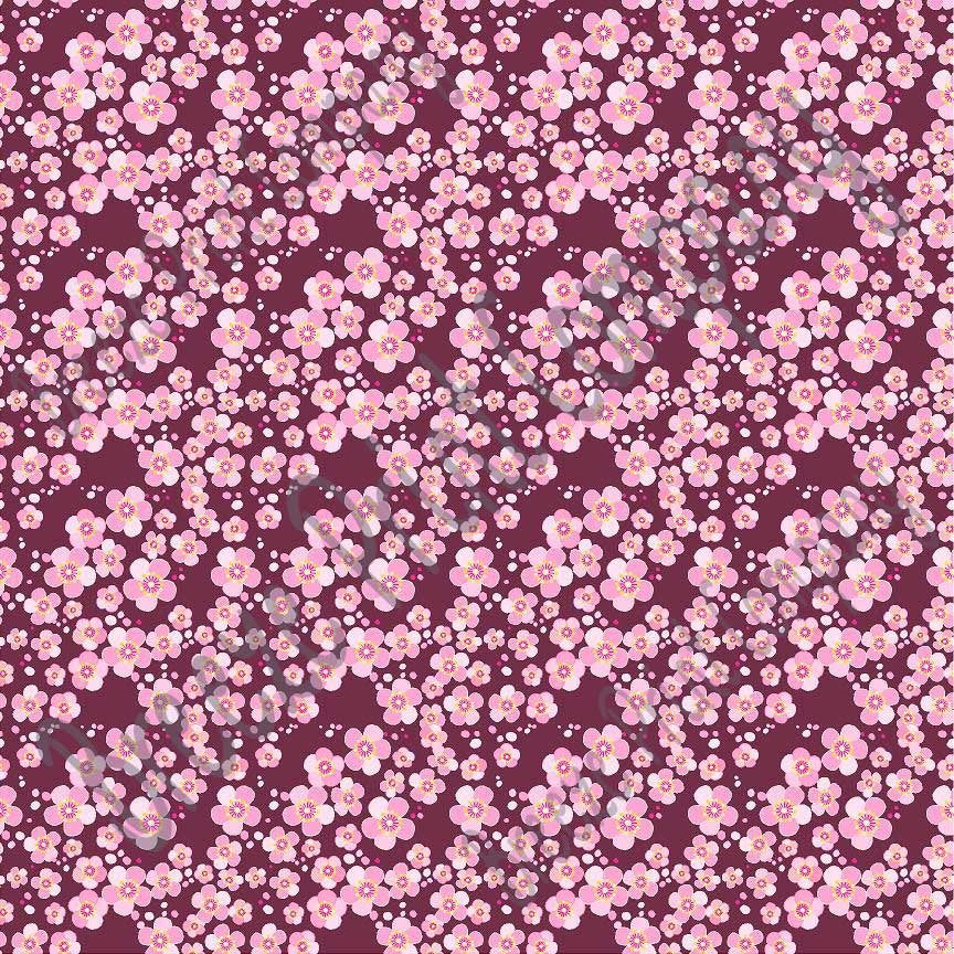 Pink cherry blossom floral with maroon background craft  vinyl sheet - HTV -  Adhesive Vinyl -  flower pattern vinyl spring pattern HTV2247