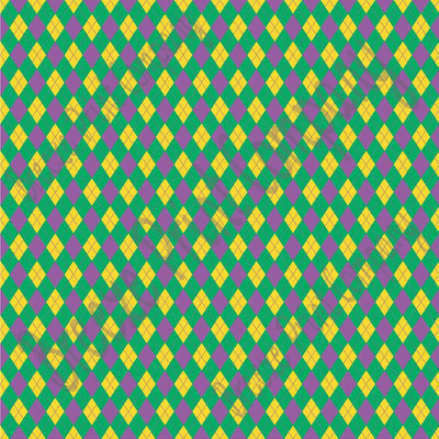 Green, purple and yellow argyle plaid craft  vinyl sheet - HTV -  Adhesive Vinyl -  Mardi Gras HTV3806