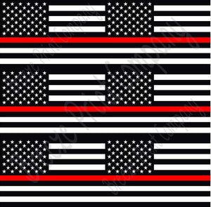 Flag craft  vinyl sheet, HTV, adhesive vinyl pattern black and white with red line 6 4x6 inch flags per  sheet, HTV, adhesive vinyl HTV2805 - Breeze Crafts