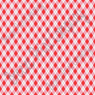 Red, pink and white argyle plaid craft  vinyl sheet - HTV -  Adhesive Vinyl -  Valentine's Day HTV3804
