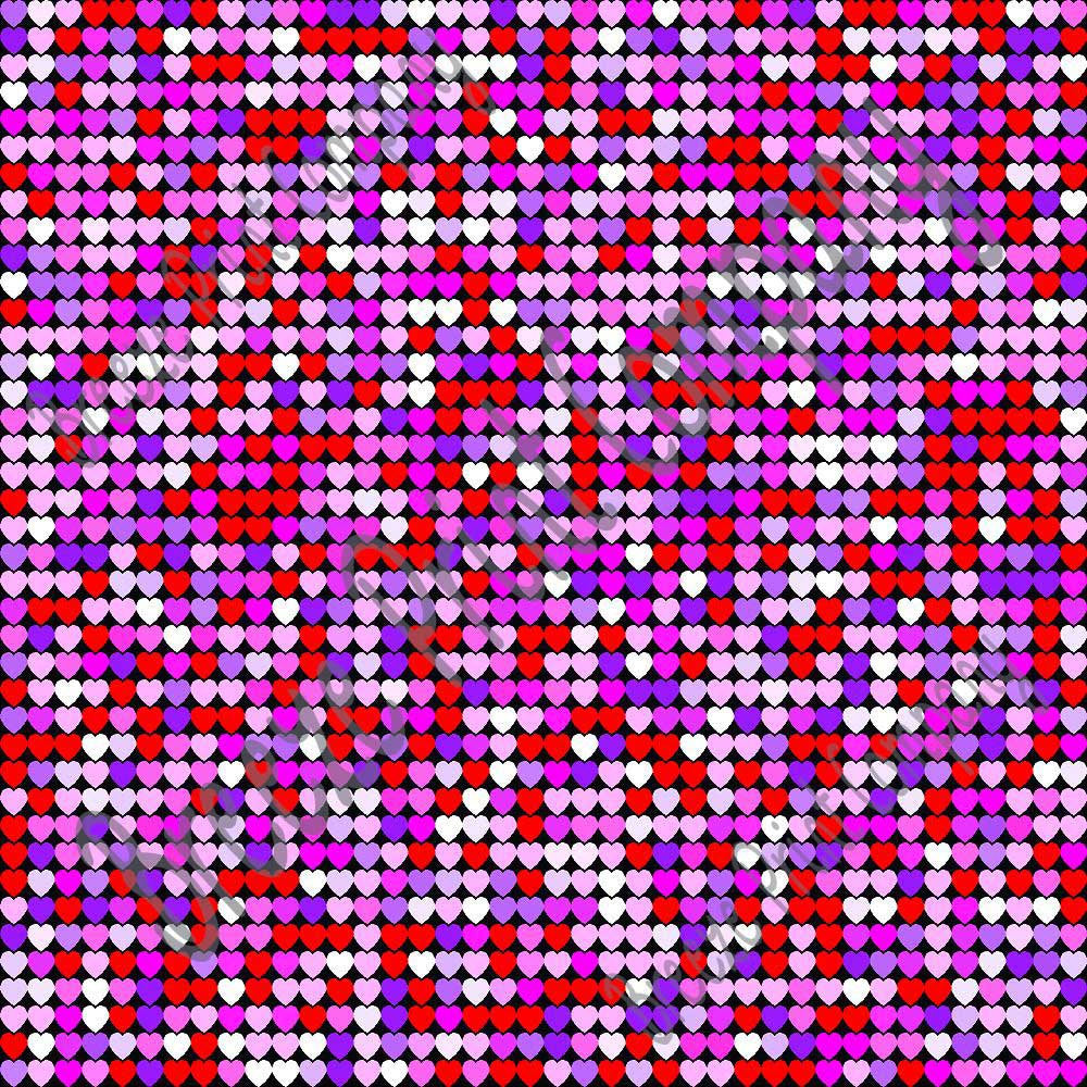 Multi colored small heart pattern craft  vinyl sheet - HTV -  Adhesive Vinyl -  Valentine's Day pinks, purples, red, white, black HTV3953