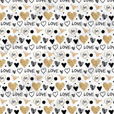 Black with gold heart and love pattern craft  vinyl sheet - HTV -  Adhesive Vinyl -  Valentine's Day HTV3957 - Breeze Crafts