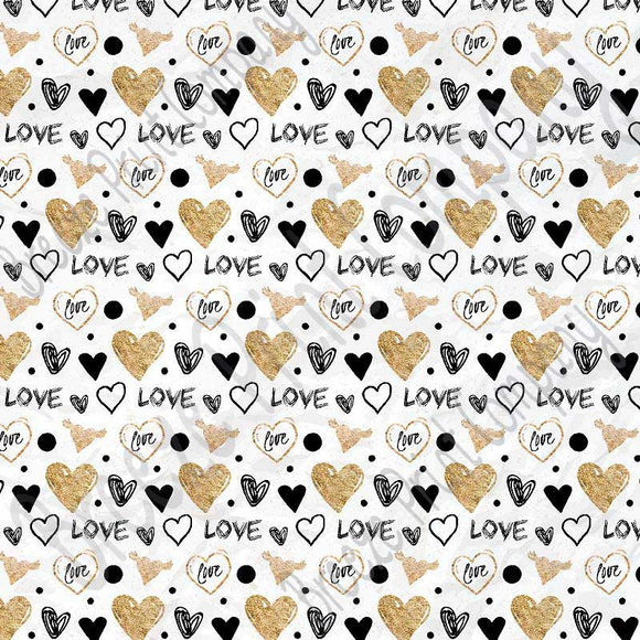 Black With Gold Heart And Love Pattern Craft Vinyl Sheet Htv