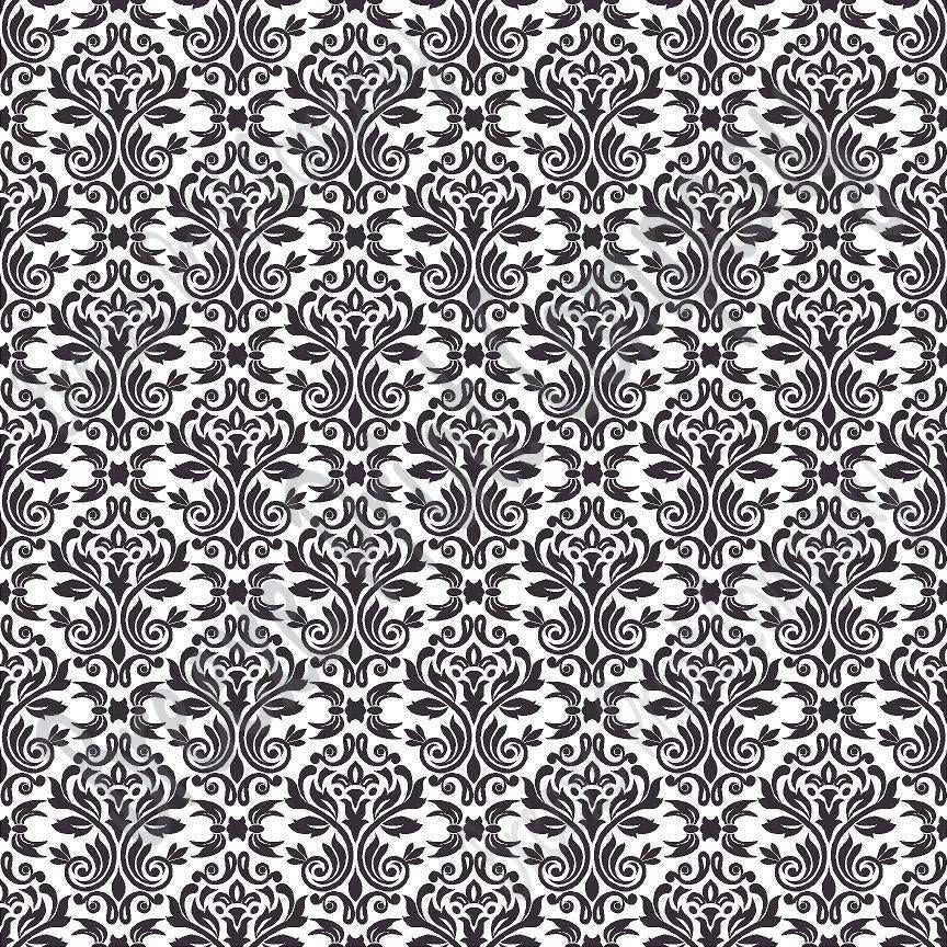 White with black damask floral craft  vinyl - HTV -  Adhesive Vinyl -  HTV4200
