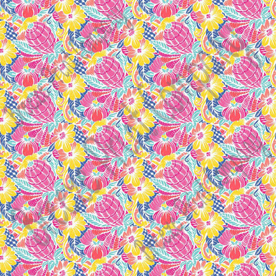 Floral and abstract pineapple craft  vinyl sheet, HTV, adhesive vinyl tropical flower pattern vinyl pink, coral, yellow, blue, aqua HTV2250 - Breeze Crafts
