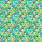 Pineapple flower craft vinyl sheet - HTV -  adhesive vinyl tropical floral pattern vinyl aqua blue background inspired beach pattern HTV2252