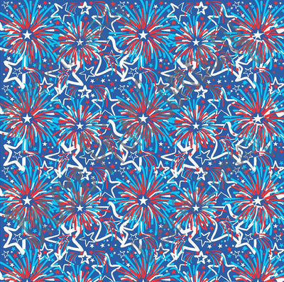 Fireworks and Stars pattern - vinyl Fourth of July red, white, blue hand drawn inspired USA pattern HTV2256 - Breeze Crafts