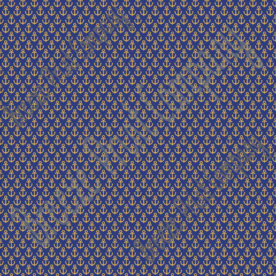 Navy blue with gold anchor craft vinyl sheet - HTV -  Adhesive Vinyl -  nautical pattern HTV3302