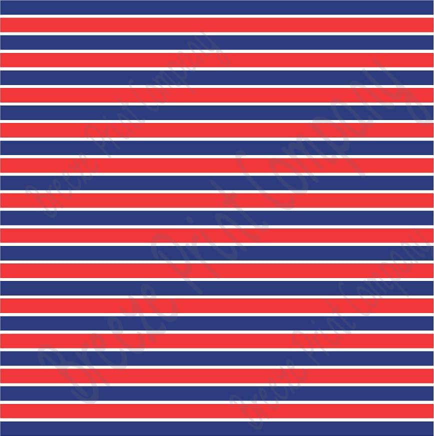 Navy blue, Red and white stripe heat transfer or adhesive vinyl sheet USA stripe pattern HTV3020