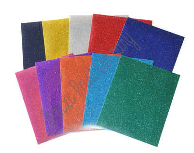 Glitter HTV Starter Pack 12x10 inch sheets Heat Transfer Vinyl--10 pack assorted colors - Breeze Crafts
