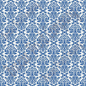 White and blue damask floral craft  vinyl - HTV -  Adhesive Vinyl -  HTV4206