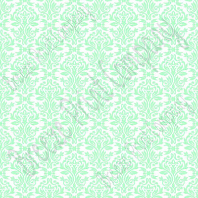 White with mint damask floral craft vinyl - HTV -  Adhesive Vinyl -  HTV4205