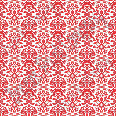 White with red damask floral craft  vinyl - HTV -  Adhesive Vinyl -  HTV4202