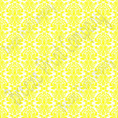 White with lemon yellow damask floral craft  vinyl - HTV -  Adhesive Vinyl -  HTV4201