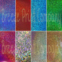 "Holographic HEAT TRANSFER metal flake vinyl sheet  20""x12"" many colors available"
