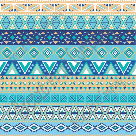 Blues Aquas Tan And White Aztec Tribal Pattern Craft Vinyl HTV Amazing Aztec Tribal Pattern