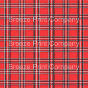 Red, black and white tartan plaid craft vinyl sheet - HTV -  Adhesive Vinyl -  Christmas printed pattern vinyl HTV1840