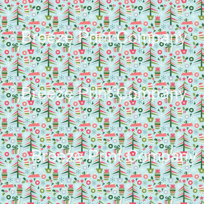 Christmas tree and present craft vinyl sheet, HTV, adhesive vinyl winter holiday pattern printed vinyl snowflakes, holly, ornament HTV1380 - Breeze Crafts