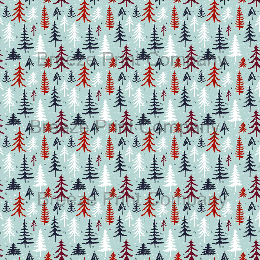 Christmas tree and snow - HTV -  Adhesive Vinyl -  winter holiday pattern printed vinyl snowflakesHTV1381 - Breeze Crafts