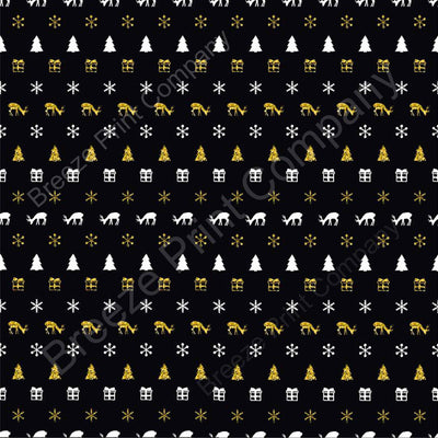 White and gold on black Christmas tree, reindeer snowflake craft vinyl sheet - HTV -  Adhesive Vinyl -  winter holiday printed vinyl HTV1386