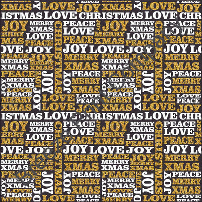 White and gold faux glitter on black Christmas words text craft vinyl pattern sheet winter holiday printed vinyl HTV1388