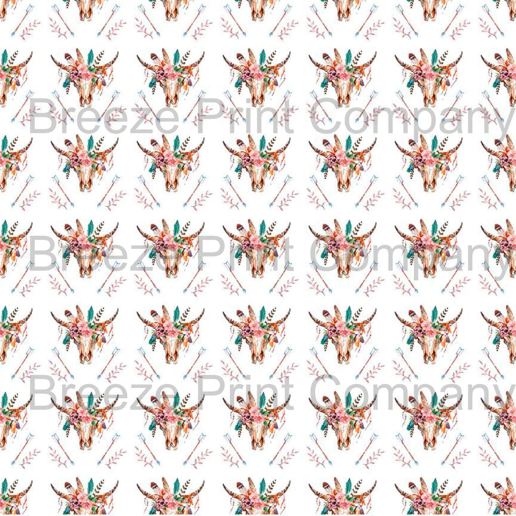 Cow skull and feather and arrow pattern printed craft vinyl sheet - HTV -  Adhesive Vinyl -  watercolor southwest desert HTVWC26 - Breeze Crafts