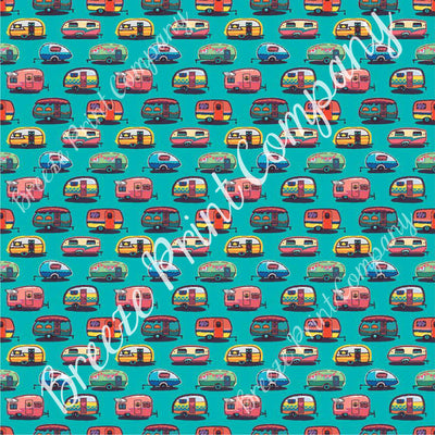 Camper craft  sheet - HTV -  Adhesive Vinyl -  retro trailer pattern printed vinyl teal background camping HTV18502 - Breeze Crafts