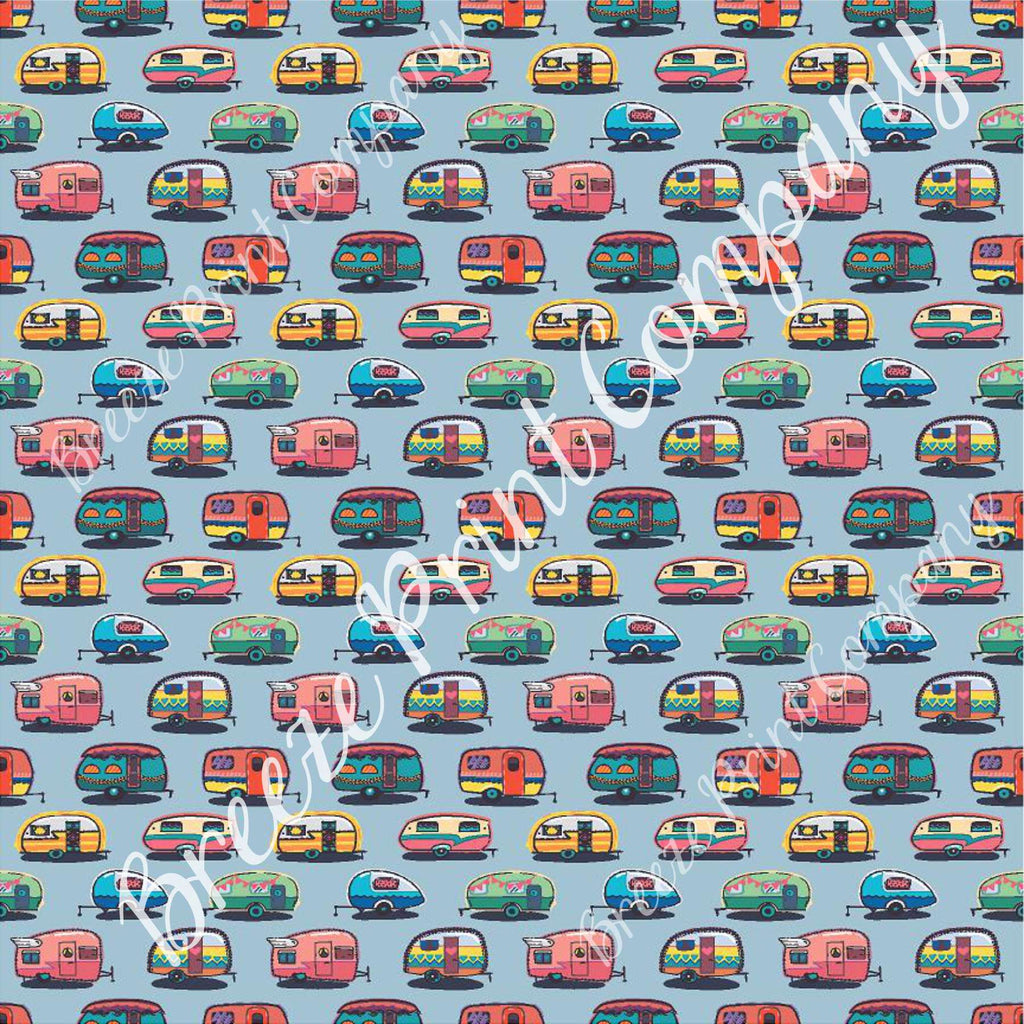 Camper craft  sheet - HTV -  Adhesive Vinyl -  retro trailer pattern printed vinyl grey background camping HTV18503 - Breeze Crafts