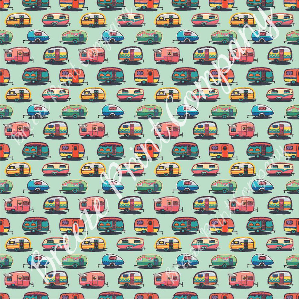 Camper craft  sheet - HTV -  Adhesive Vinyl -  retro trailer pattern printed vinyl mint background camping HTV18504 - Breeze Crafts