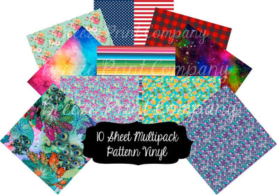 Pattern heat transfer or adhesive vinyl 12x12 inch most popular prints 10 sheet multipack bundle MP1