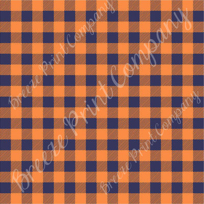 Orange and navy blue buffalo plaid craft vinyl sheet - HTV -  Adhesive Vinyl -  lumberjack plaid HTV1838