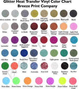Glitter HTV, Glitter Heat transfer vinyl sheet 10x12  or 20x12 inch sheets - Breeze Crafts