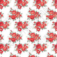 Red rose floral craft  vinyl sheet - HTV -  Adhesive Vinyl -  with white background flower pattern vinyl  HTV2236