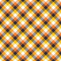 Black, orange, yellow and white plaid craft vinyl sheet - HTV -  Adhesive Vinyl -  Halloween fall autumn pattern HTV1858 - Breeze Crafts