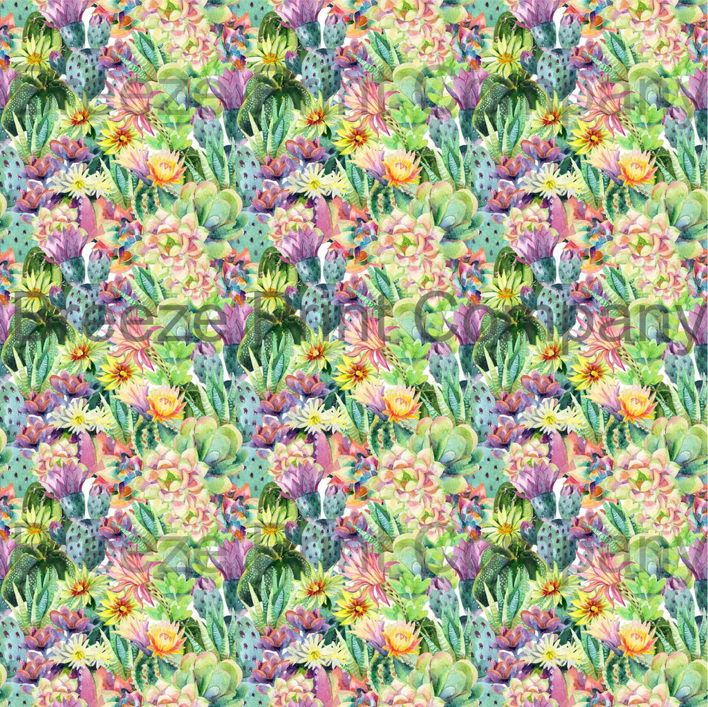Cactus pattern printed craft vinyl sheet - HTV -  Adhesive Vinyl -  botanical watercolor succulent desert plant cacti flower HTVWC20 - Breeze Crafts