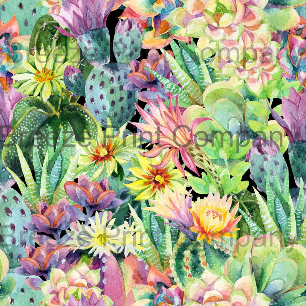 Cactus and flower large pattern printed craft vinyl sheet - HTV -  adhesive vinyl botanical watercolor succulent desert plant cacti HTVWC21 - Breeze Crafts