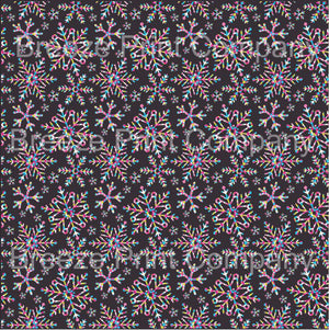 Colorful snowflake with black background craft vinyl sheet - HTV -  Adhesive Vinyl -  winter holiday pattern printed vinyl HTV1376 - Breeze Crafts